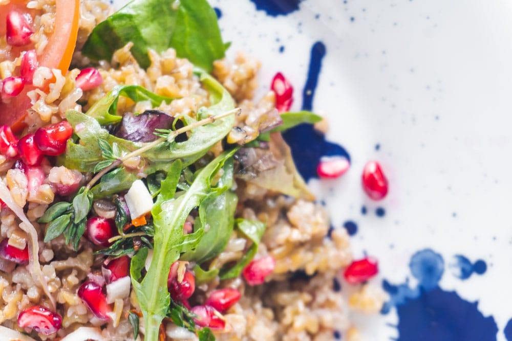 Freekeh and pomegranate salad